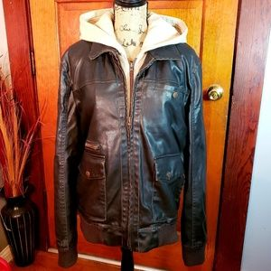 American Rag Distressed Faux Leather Hooded Coat